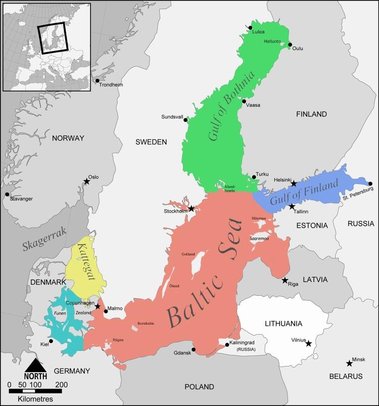 Karte Ostsee.Nordsee